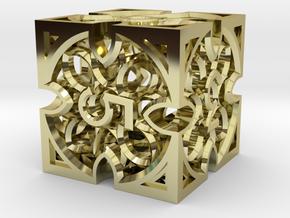 Gothic Rosette d6 in 18k Gold