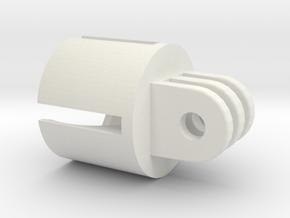 Action camera Socket Mount 3 Prong in White Natural Versatile Plastic