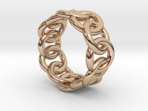 Chain Ring 32 – Italian Size 32 in 14k Rose Gold Plated Brass
