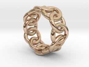 Chain Ring 33 – Italian Size 33 in 14k Rose Gold Plated Brass