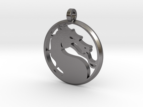 """Mortal Kombat Medallion 2"""" (with Cord Hole) in Polished Nickel Steel"""