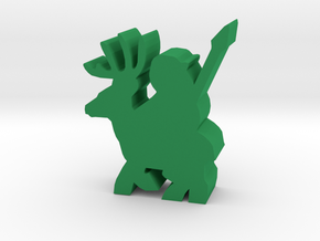 Game Piece, Deer Rider With Spear in Green Processed Versatile Plastic