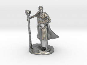 Male Elf Wizard With Spellbook And Staff in Natural Silver