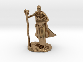 Male Elf Wizard With Spellbook And Staff in Natural Brass