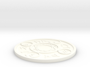 Magic Spell Circle Coaster in White Processed Versatile Plastic