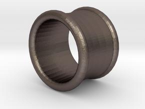 19/32 Inch (15mm) Double Flare Ear Tunnel (single) in Polished Bronzed Silver Steel