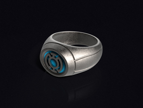 Blue Lantern Ring in Polished Bronzed Silver Steel