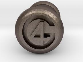 4 Gauge Ear Tunnel Engraved in Polished Bronzed Silver Steel