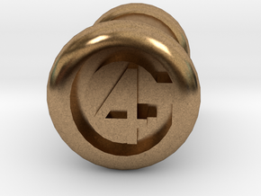 4 Gauge Ear Tunnel Engraved in Natural Brass