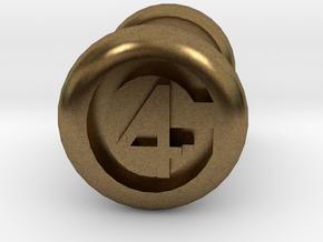 4 Gauge Ear Tunnel Engraved in Natural Bronze