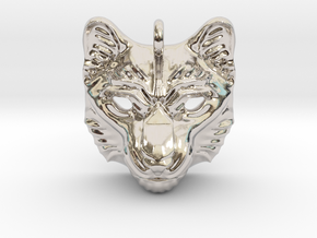Snow Leopard Small Pendant in Rhodium Plated Brass