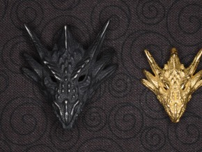 Umbral Dragon Small Pendant in Polished Gold Steel