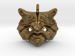 Raccoon Pendant in Natural Bronze