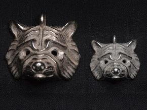 Raccoon Small Pendant in Polished Bronzed Silver Steel