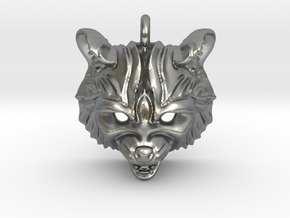 Raccoon (angry) Small Pendant in Natural Silver