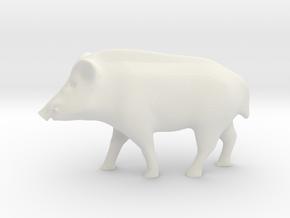 Realistic Eurasian Wildboar in White Natural Versatile Plastic