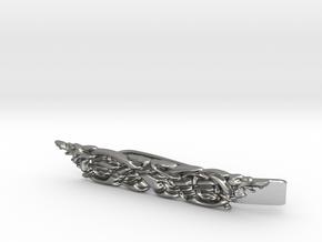 Celtic Wolf Motif Tie clip (precious metals) in Natural Silver