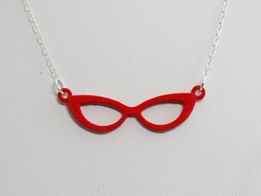 Cateye Glasses Necklace in Red Processed Versatile Plastic