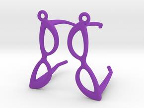 Cateye Glasses Earrings - 3D in Purple Processed Versatile Plastic