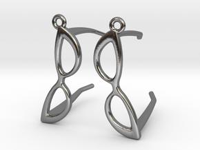 Cateye Glasses Earrings - 3D in Polished Silver