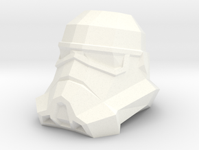 Storm Trooper Low Poly Head in White Strong & Flexible Polished