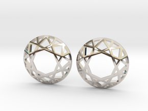 Diamond Wireframe Top Earrings in Rhodium Plated Brass