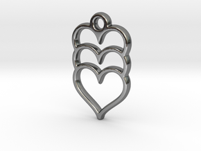 Hearts x 3 in Fine Detail Polished Silver