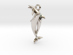 Dolphin Pendant in Rhodium Plated Brass