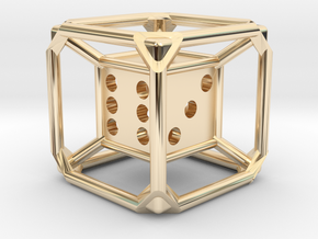 d6 Dice Pendant in 14k Gold Plated Brass