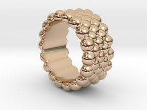 Bubbles Round Ring 25 – Italian Size 25 in 14k Rose Gold Plated