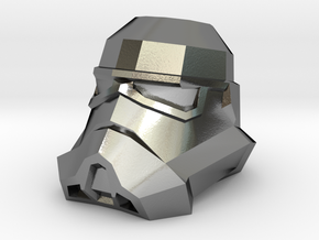 Storm Trooper Low Poly Head in Polished Silver