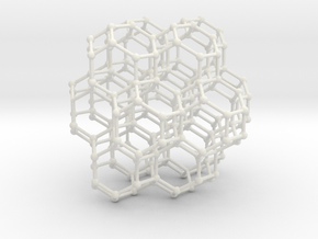 Bitruncated Cubic Honeycomb Sacred Geometry 80mm  in White Natural Versatile Plastic