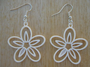 Five Petals Earrings in White Natural Versatile Plastic