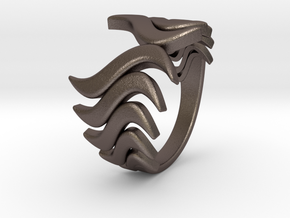 Fashion Fire Ring 1008 in Polished Bronzed Silver Steel