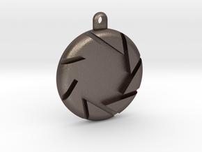 Aperture Pendant in Polished Bronzed Silver Steel