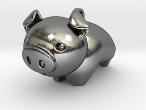 Cute Piggy in Polished Silver