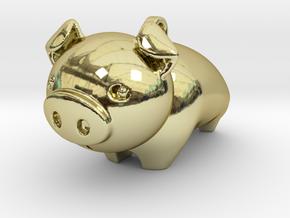 Cute Piggy in 18k Gold Plated Brass