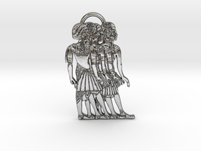Ancient Nubian Women Pendant in Polished Silver