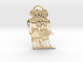 Ancient Nubian Women Pendant in 14K Yellow Gold