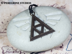 Pendant - TriForce (Bumps) in Polished Bronze Steel