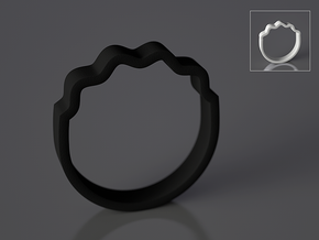 Wave Ring - Negative [sizes 7-10] in Black Natural Versatile Plastic