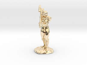 Female Half Orc Barbarian with Axe in 14k Gold Plated Brass