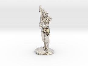Female Half Orc Barbarian with Axe in Rhodium Plated Brass