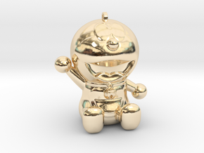 Doraemon 3D KeyChain & Pencil Cover in 14K Yellow Gold