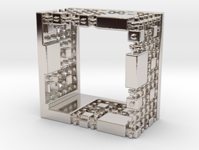 Menger Mondrian Matrix Ring in Rhodium Plated