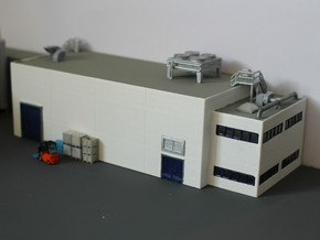 N Scale Industrial Building With Office in White Natural Versatile Plastic