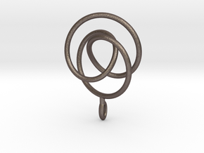 Smooth 2bridge Trefoil Torus Knot Pendant in Polished Bronzed Silver Steel