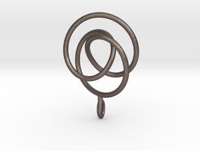 Smooth 2bridge Trefoil Torus Knot Pendant in Stainless Steel