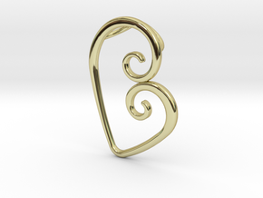 Swirl Heart Pendant - Original Reproduction in 18k Gold Plated Brass