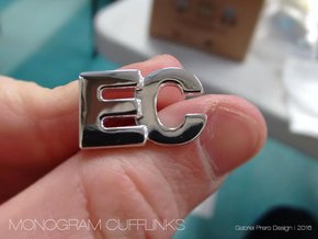 Monogram Cufflinks EC in Rhodium Plated Brass